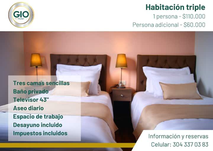 Habitación triple en Hotel Gio Sonson - 3 camas
