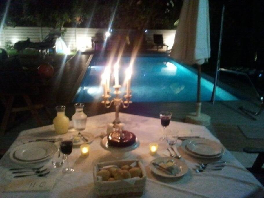 Romantic dinner by the pool side