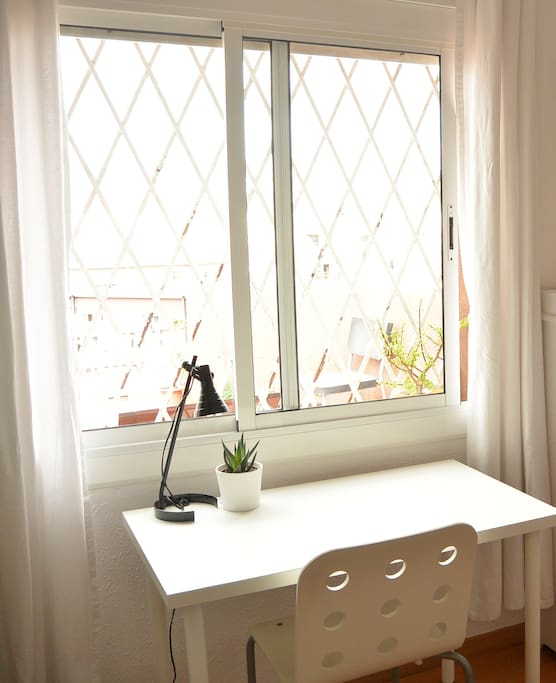 Desk with view of the city and Tibidabo mountain