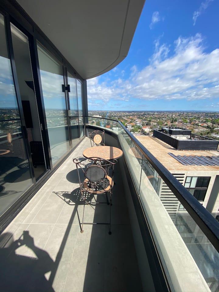 Premium terrace living top view gym pool 2b2b