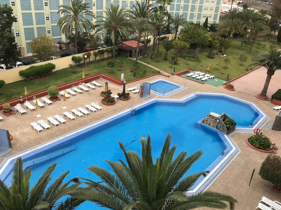 The complex has very big swimming- pool and a small pool (for children's), solarium, garden areas, volleyball court, etc.