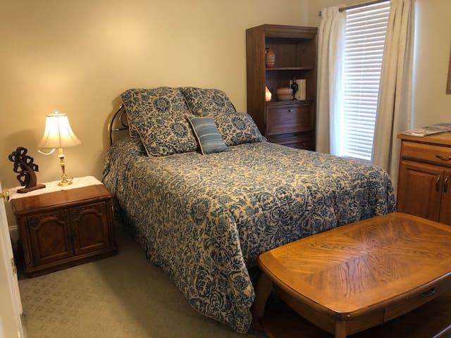 Comfortable quiet bedroom.