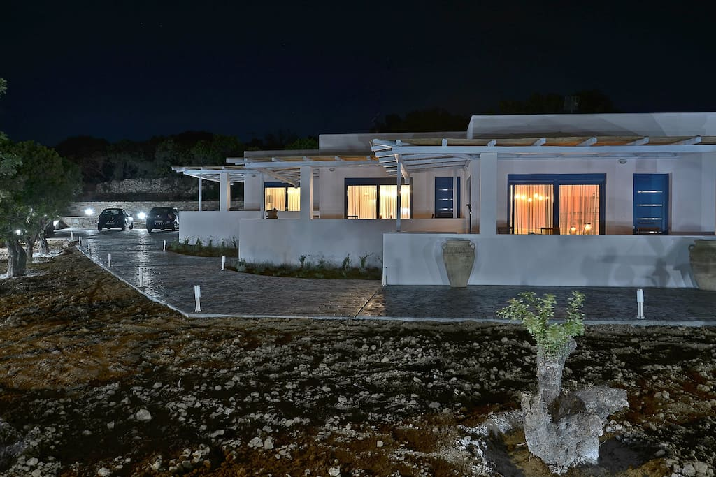 Mastiha Villas at night