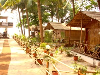 Traditional bamboo beach huts