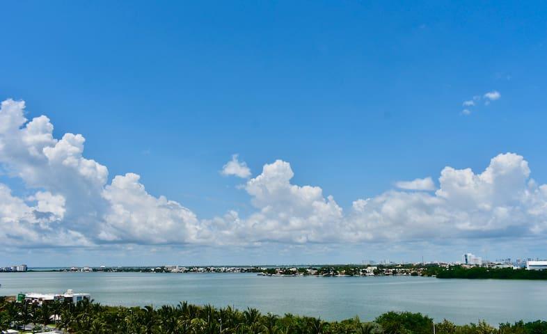 Loft vista a la laguna frente al mar 4 Pax 3F