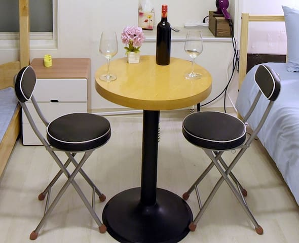 table and chair for dining and work / 식사와 업무를 위한 테이블과 의자