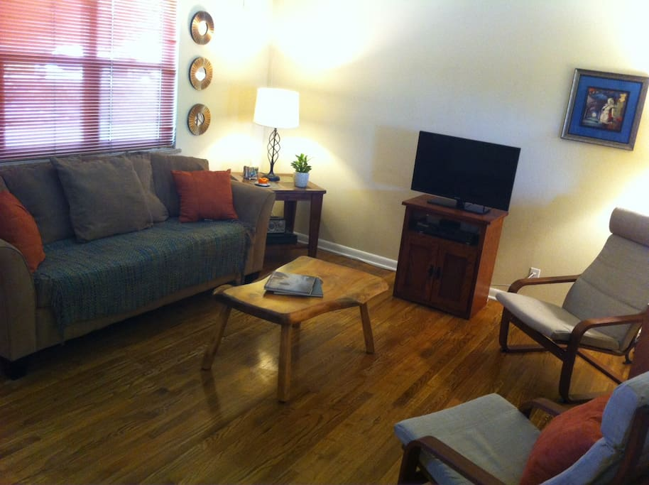 Warm comfortable living area, with basic TV channels and streaming through ROKU player.