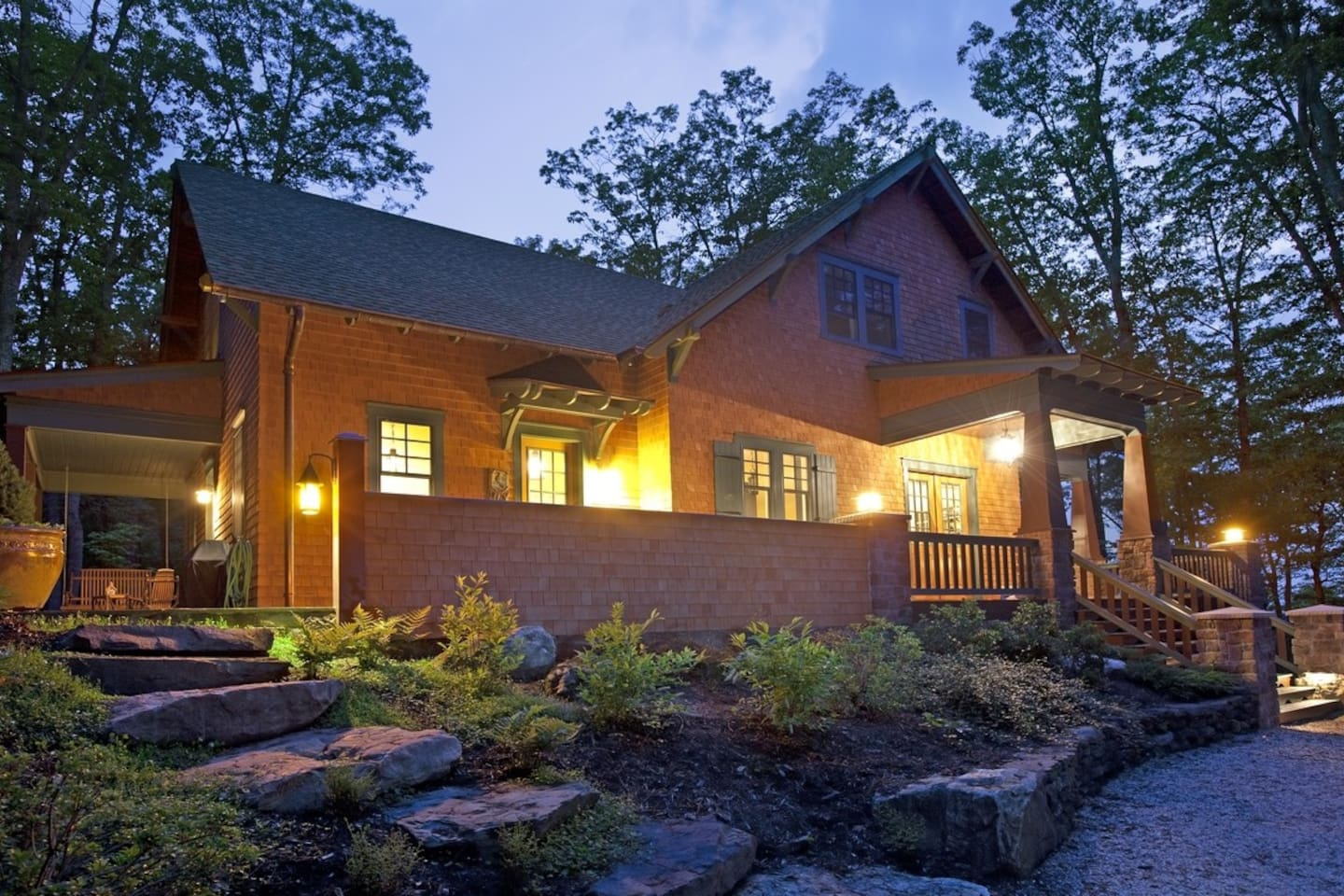 Breathtaking Arts and Crafts home nestled in the woods overlooking Warm Springs.