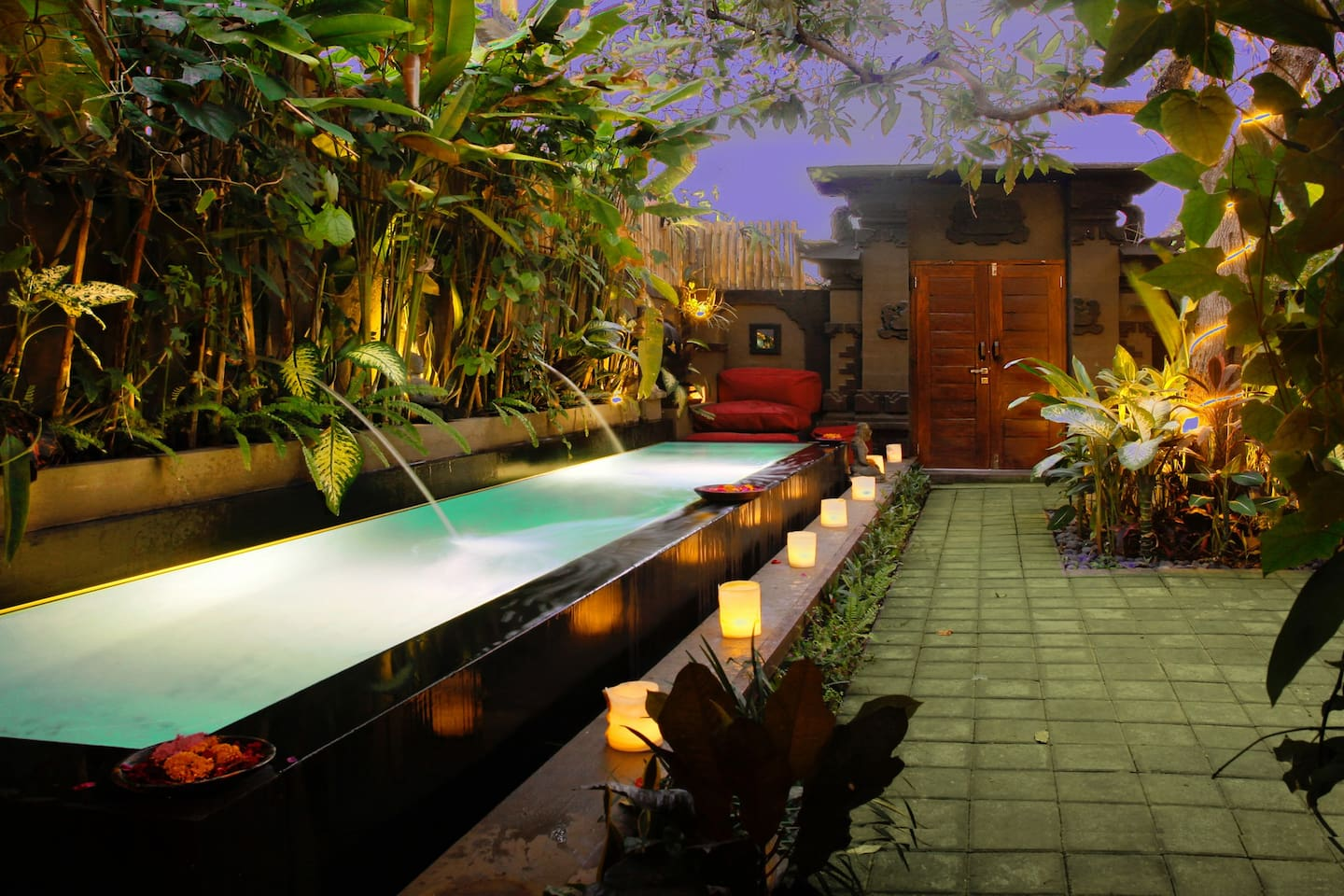 Candlelit Pool at Night and Balinese Entrance