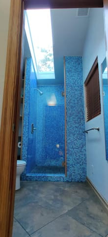 Large skylight in bathroom lets in lots of light.