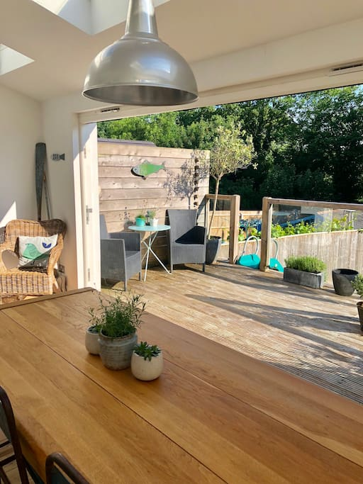 View from table to raised decking area