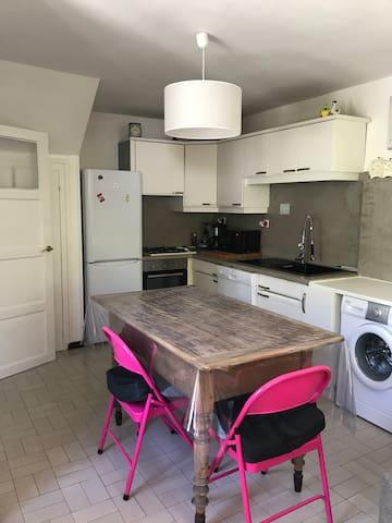Kitchen fitted with fridge/freezer, oven, gas hob, microwave, dishwasher, washing machine, kettle, coffee machine & toaster