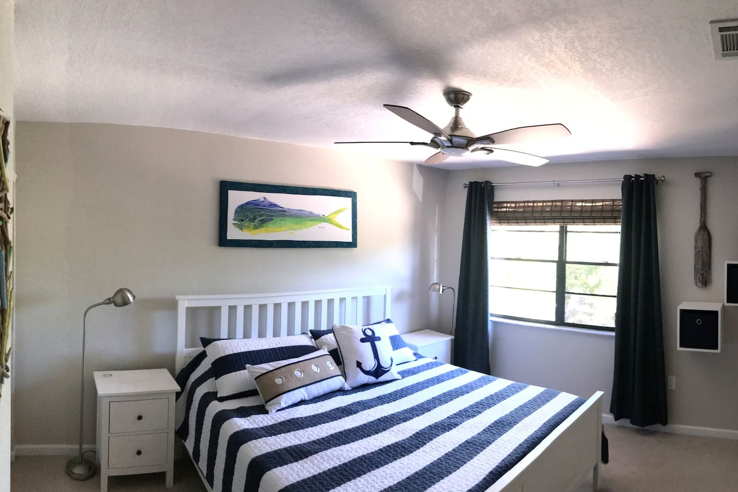 Master bedroom with large window