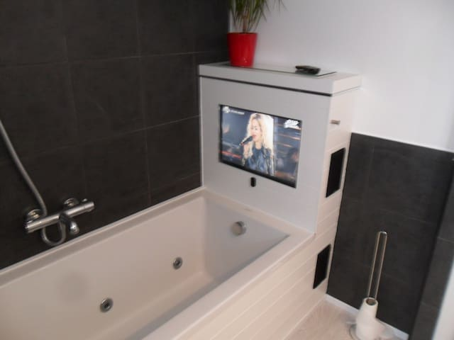 Master bathroom with jacuzzi bath,shower and tv