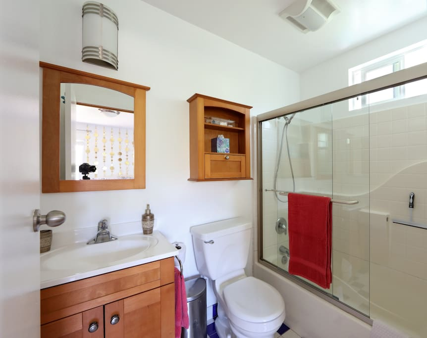 Your full sized private bathroom. Has a hair dryer under the sink.