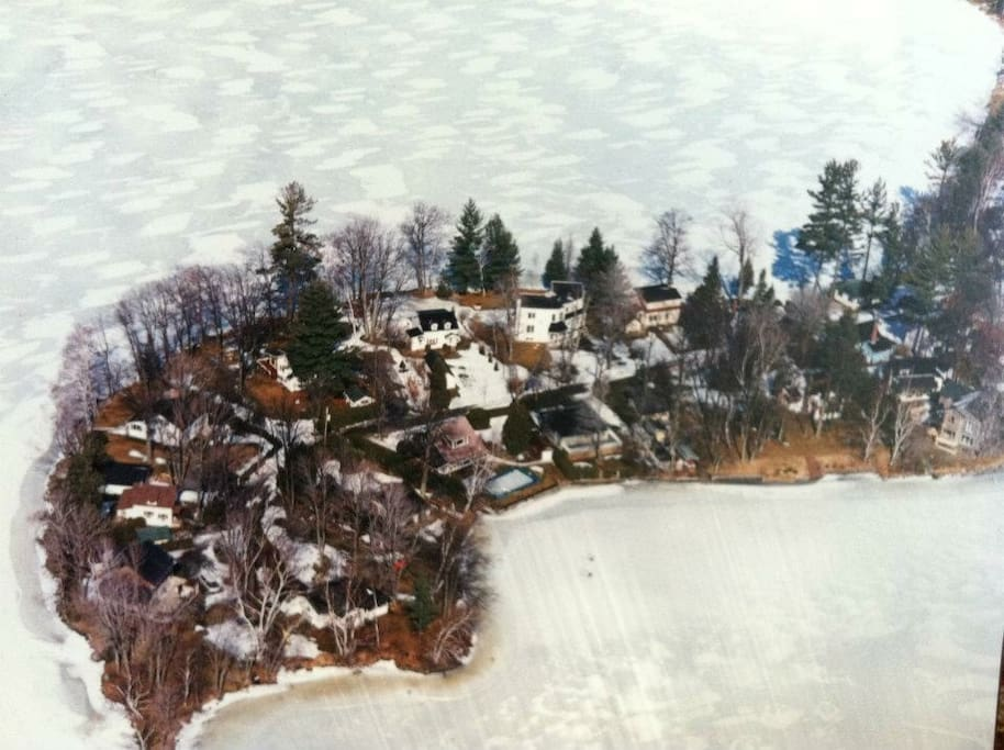 Aerial veiw of Fishers Point in winter