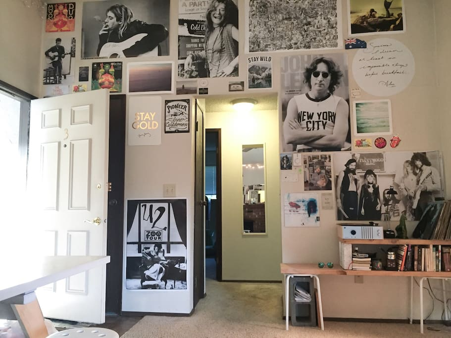 We love music and good vibes. We have books you're welcome to read and records you're welcome to listen to. (Your room is right through the sliver of door you see in the back left).