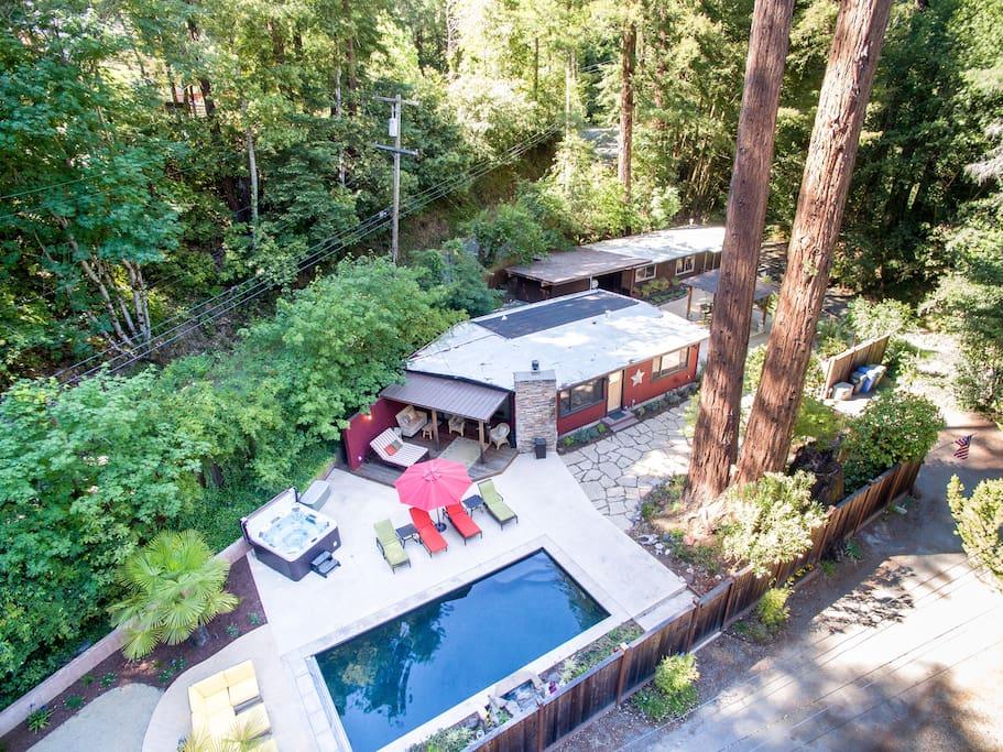 Pool & hot tub, main house, cottage