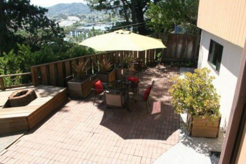 Backyard with views of San Francisco Bay