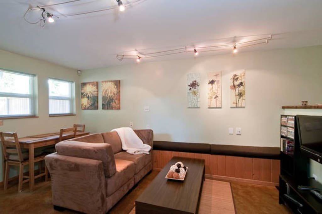 Bright, open concept living space with 8 foot ceilings