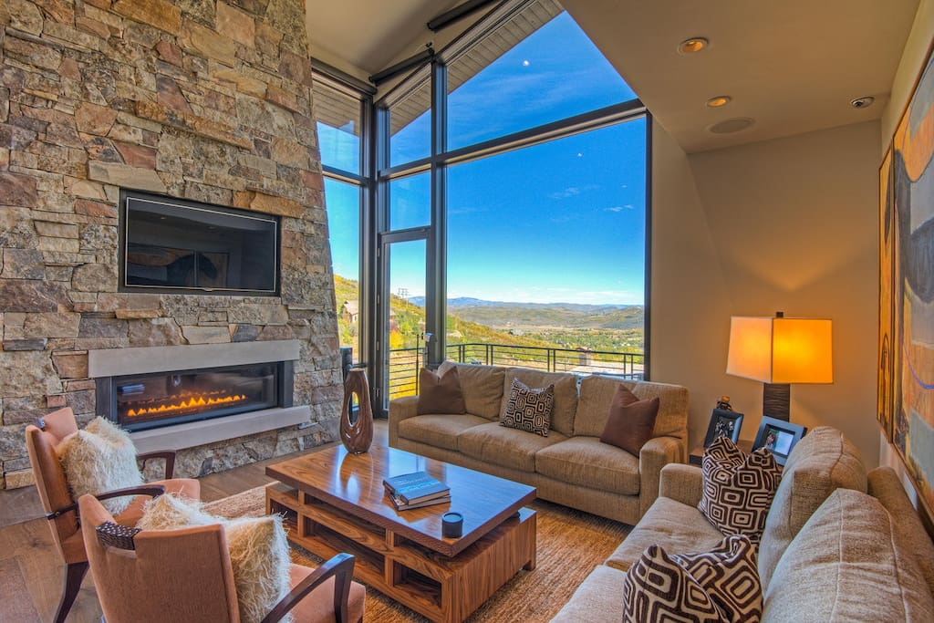 Living Room #1 - Captivating views, comfortable seating, large flatscreen, fireplace, and outdoor balcony