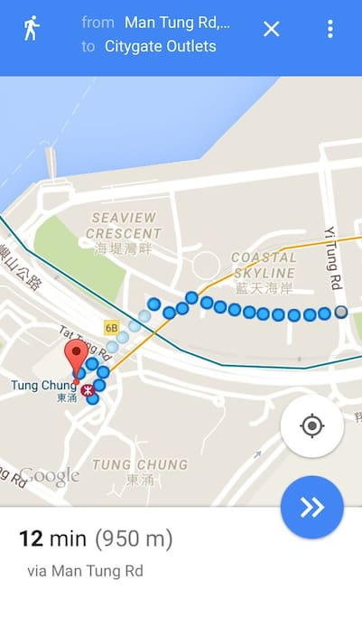 12 min walk from tung chung mtr to cozy homestay OR 3 min free shuttle bus.