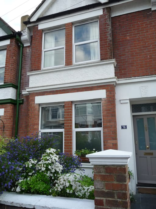 An Edwardian terraced house on a quiet street with  good bus service to town only one minute's walk from the house