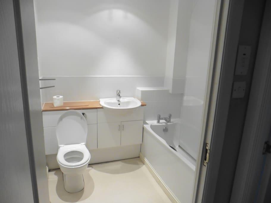 Main flat bathroom with bathtub