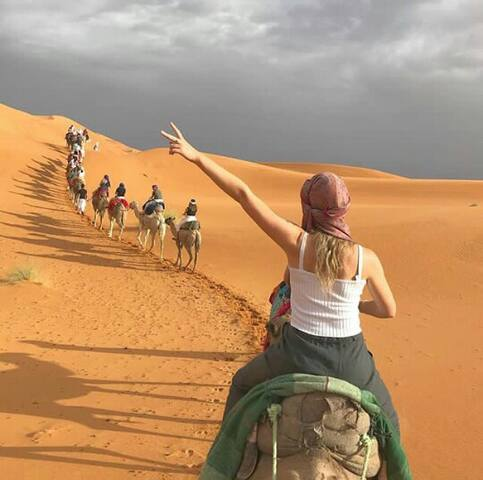 Be happy to took the pictures on the camel ride