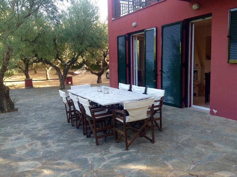 the outdoors dining table