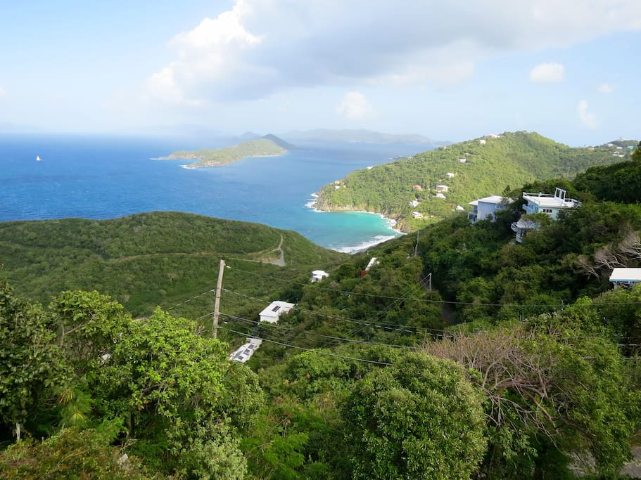 The amazing view of Thatch Cay, BVI and St John (USVI)