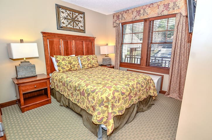 A206 1 bedroom suite with standard view, fireplace & private balcony!