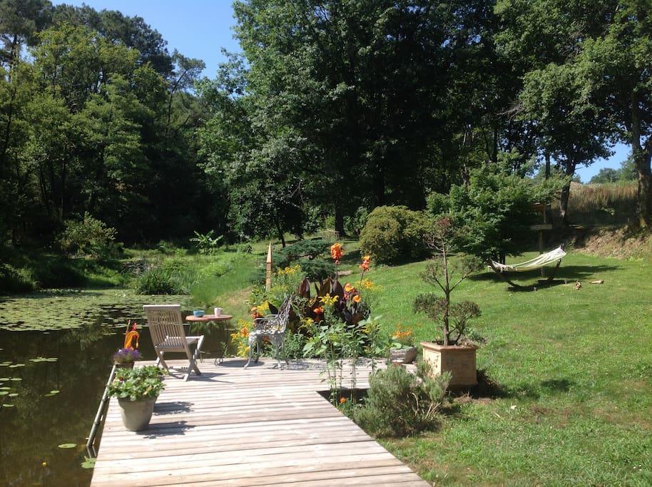 Le ponton qui donne sur le jardin
