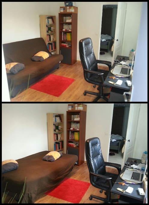 Bureau avec canapé lit 2 places