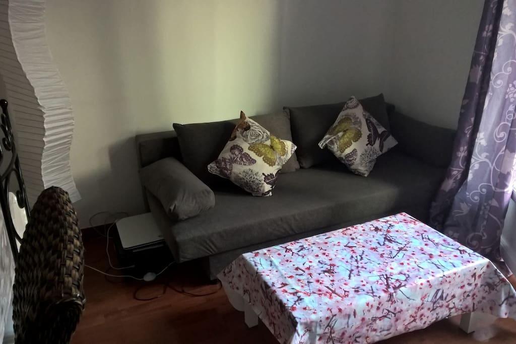 Canapé convertible pour un couchage de 2 personnes dans le salon