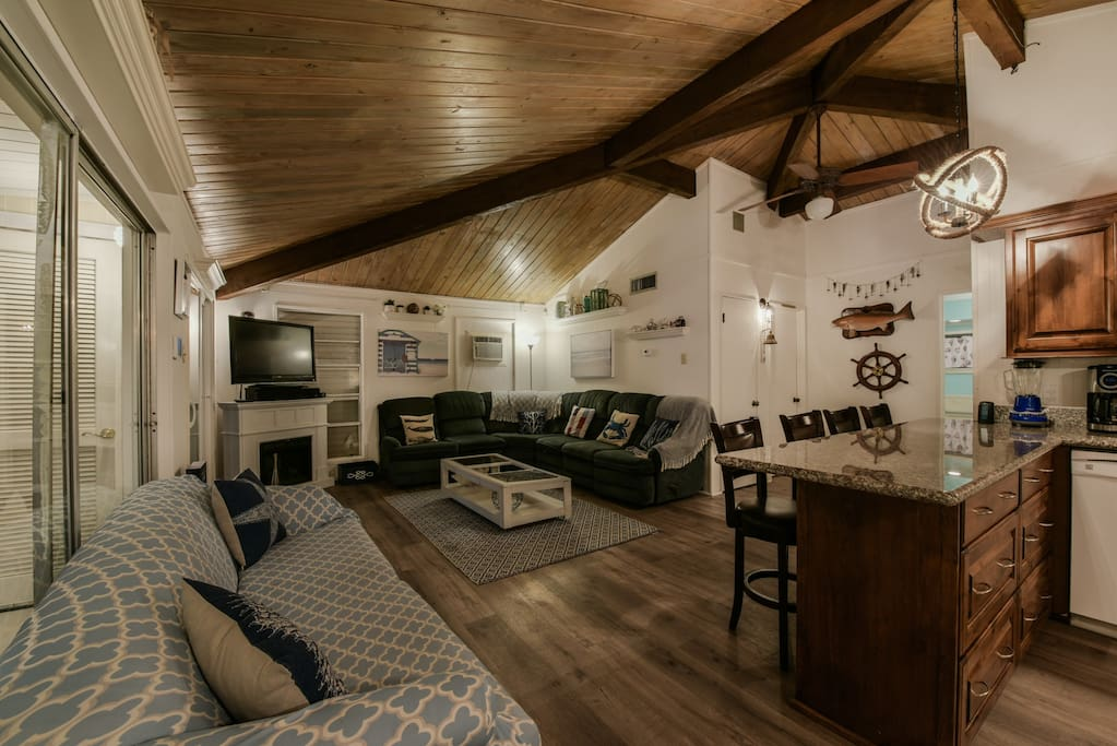 Gorgeous ship-lap Ceilings in comfortable living room!