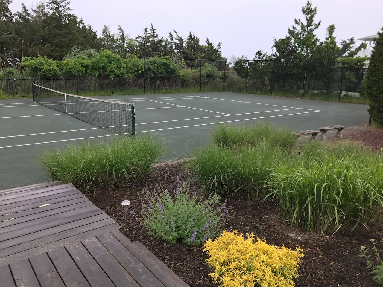 Hard Try Tennis court-weekly maintenance.