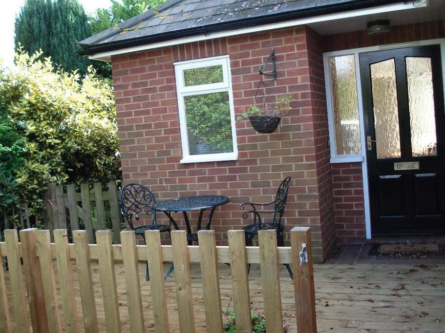 Decking area Front door & Bistro set