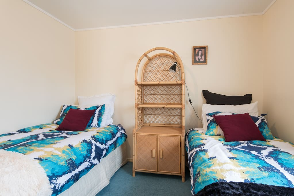 Comfortable single beds, bright room