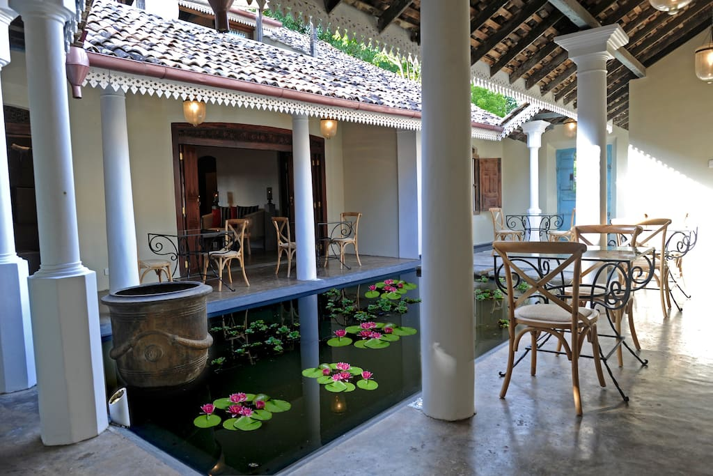 Pond courtyard dining area