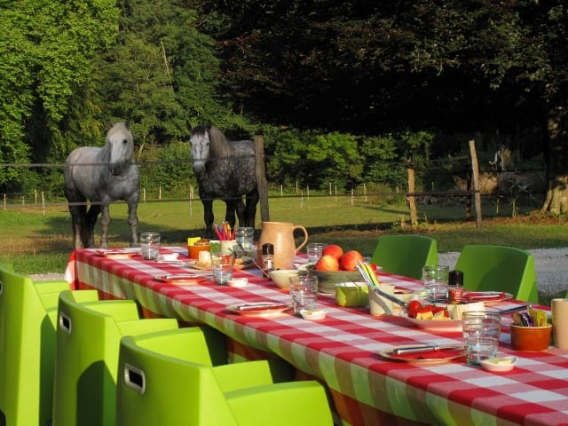 When the weather allows us, we serve breakfast outside, just in front of the castle and near to the field of our horses.