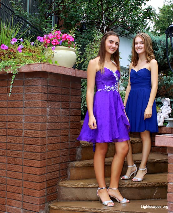 Shayla & her friend invite you up the stairs while posing in their fancy prom dresses (Sept 2016)