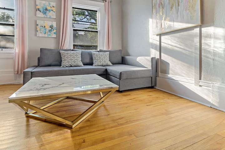 Couch pulls out into a Queen size sofa bed.  Doors to living room for added privacy