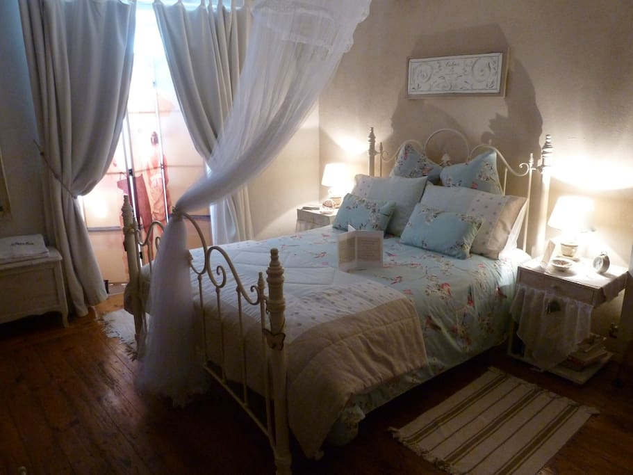 1st floor light, airy double room with a touch of romance. Great solution for parents wanting their family to be together but not all in the same room! Complete with bijou balcony, shower, WC and handbasin in room means Mum & Dad can have some peace and q