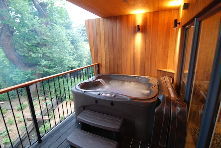 Private jacuzzi spa with waterfall, jets and mood LED.
