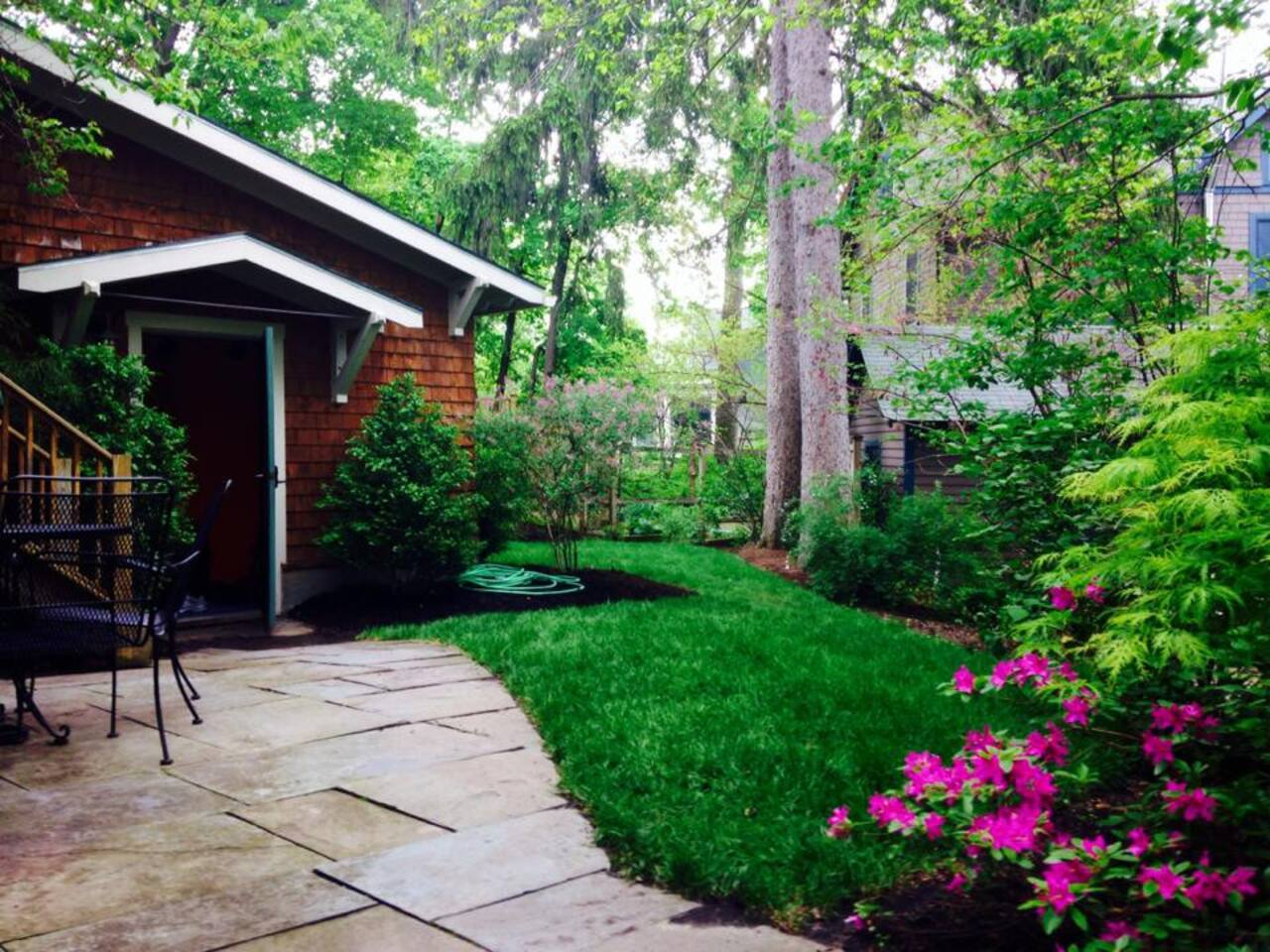 Enjoy our beautiful backyard in the summer.