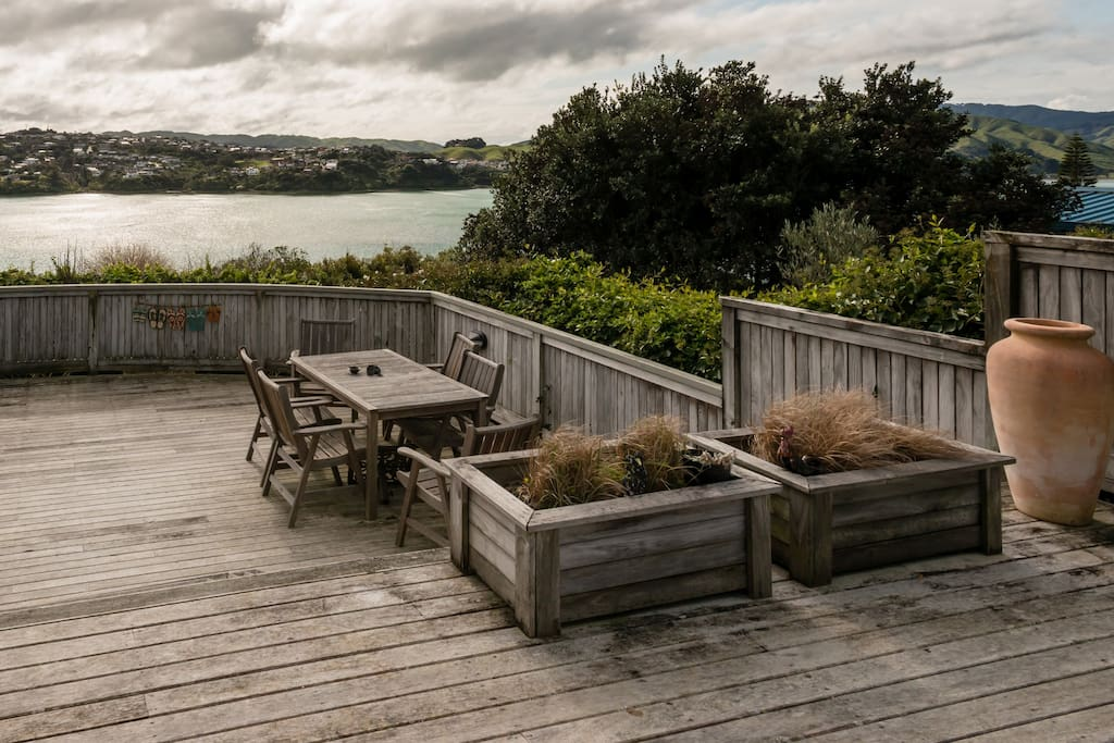 Relax on the deck and enjoy the inlet views