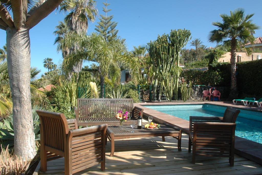 Terrasse mit Gemeinschaftspool. Terrace of comunity pool