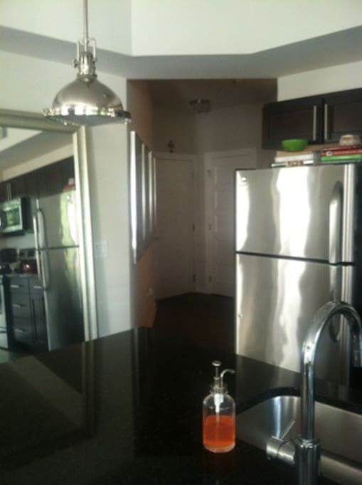 Stainless steel modern appliances, 2nd bedroom and full bath off entrance