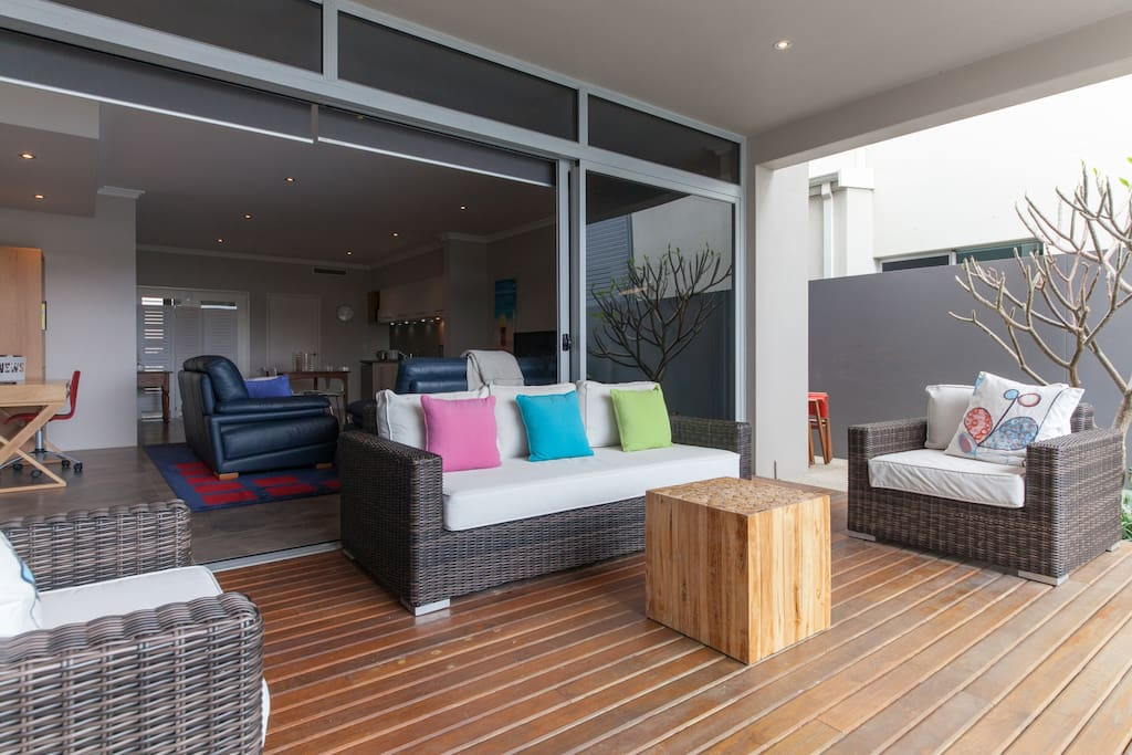 Deck between pool and family room